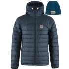 Fjallraven Expedition Pack Down Hoodie Jacket in Navy with FREE Vardag Beanie