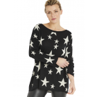 A Postcard from Brighton Starry Knitted Top in Black and White