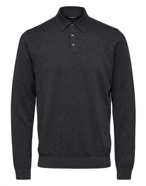 Selected Homme Berg Polo Shirt in Anthracite