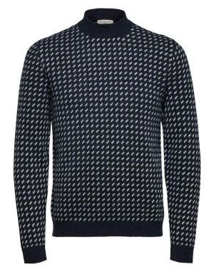 Selected Homme Taylor Patterned Jumper in Sky Captain