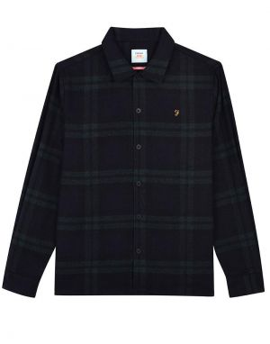 Farah Drummond Check Shirt in Deep Olive