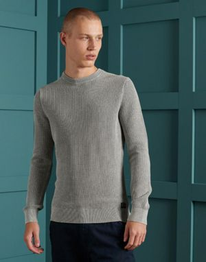 Superdry Academy Dyed Textured Crew in Washed Skylark