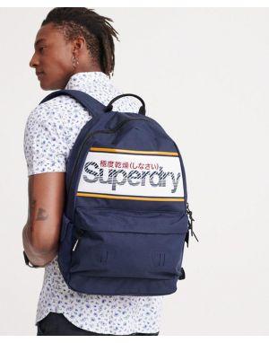 Superdry Stripe Logo Montana Backpack in Downhill Blue
