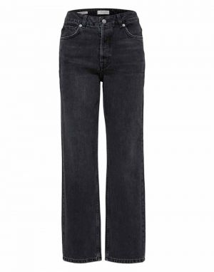 Selected Femme Kate Straight Jeans in Stone Grey