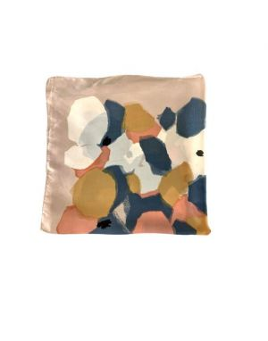 Black Colour Oda Silky Mini Scarf in Blush