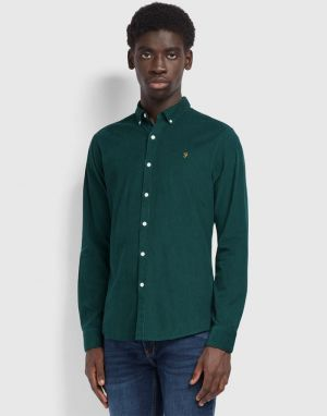 Farah Fontella Cord Shirt in Emerald Green