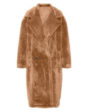 Vero Moda Safia Long Faux Fur Coat in Tobacco