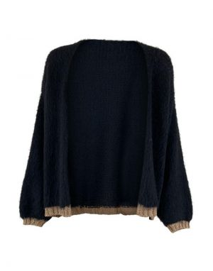 Black Colour Nika Plain Cardigan in Black and Gold