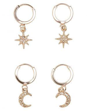 Vero Moda Star Creole Earrings in Gold