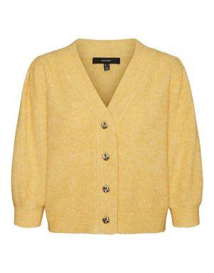 Vero Moda Klaudia 3/4 V-Neck Cardigan in Yellow