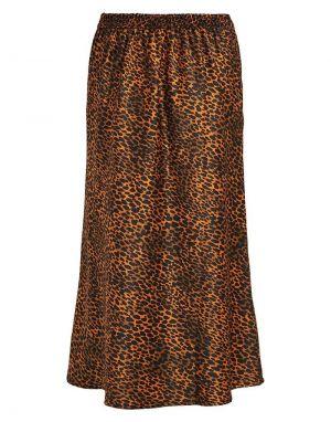 Vila Yuncarlia Highwaist Silky Midi Skirt in Leopard