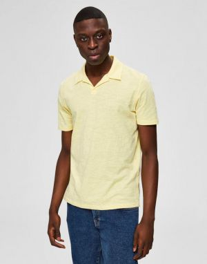 Selected Homme Jared Slub Polo in Lemon Meringue