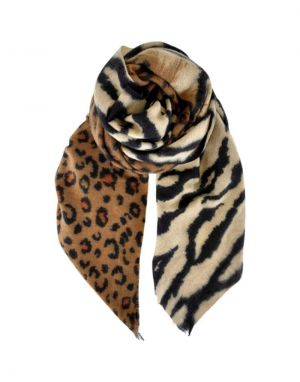 Black Colour Alba Zebra Leo Scarf in Brown