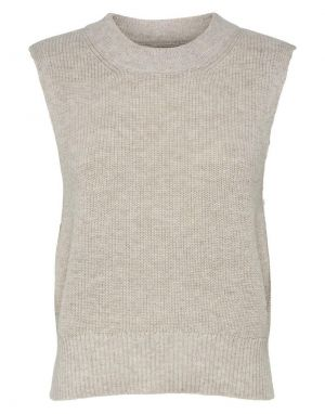 Only Paris Life Knitted Tank Vest in Stone