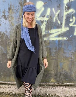 Black Colour Lorrie Long Cardigan in Khaki - One Size