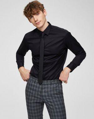 mens selected black slim fit shirt