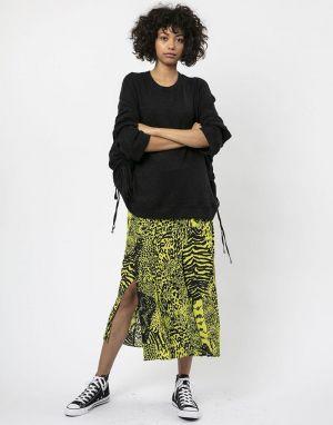 Religion Midi Skirt in Sensation Lime Green