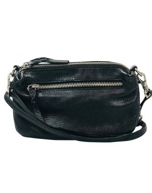 Black Colour Soft Box Leather Bag in Black