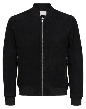 Selected Homme Bomber Suede Jacket in Black