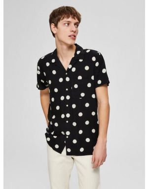 Selected Homme Dot Shirt in Black