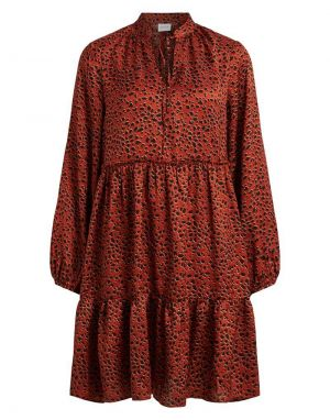 Vila Ramdi Tiered Silky Smock Dress in Leopard