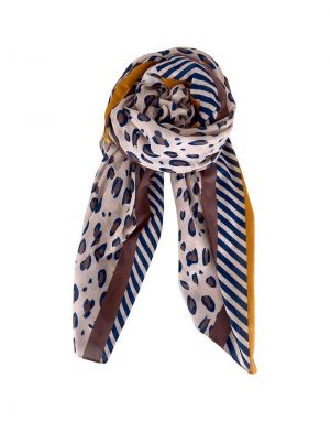 Black Colour Kyra Leopard and Stripe Scarf in Rose