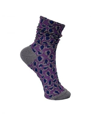 Black Colour Leopard Bubble Ankle Sock in Purple