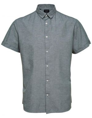 Selected Homme Regular Linen Shirt in Sea Spray