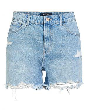 Pieces Ava Destroy Denim Shorts in Light Blue