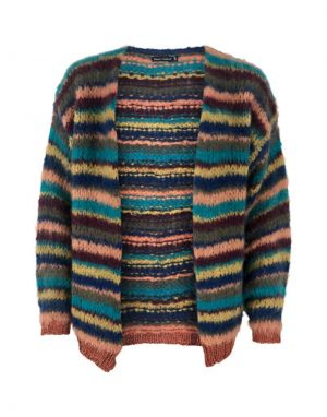 Black Colour Tanita Striped Cardigan in Multi-Coloured