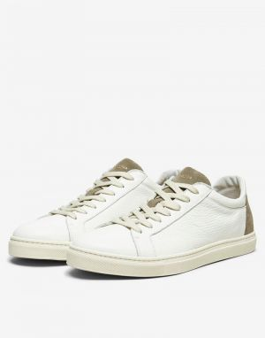 selected homme david contrast trainers in deep lichen green