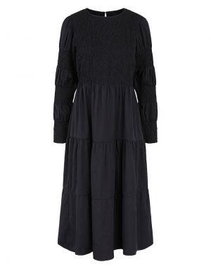 Pieces Muddi Smock Midi Shirred Dress in Black