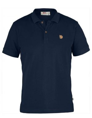 fjallraven ovik polo shirt in navy organic cotton material