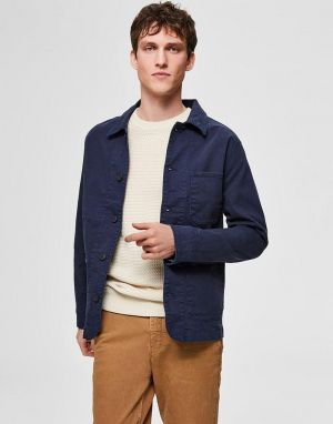 selected homme jackson cotton jacket in navy