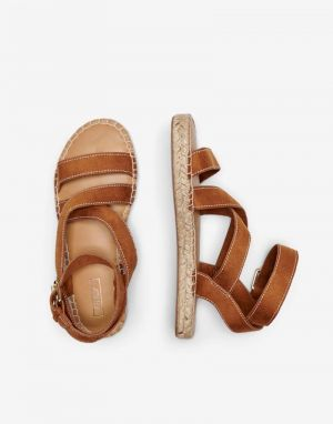 Only Elle Espadrille Flat Sandals in Cognac