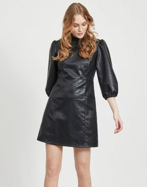 Vila Pumida Faux Leather Look Dress