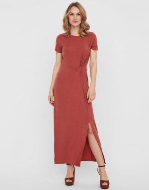 Vero Moda Ava Lulu Ankle Dress in Marsala