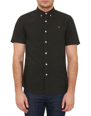 farah black brewer short sleeved shirt