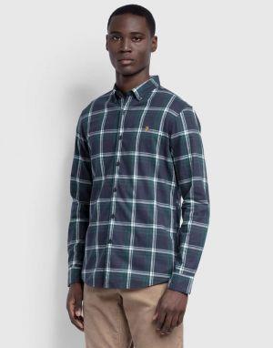 Farah Steen Check Slim Fit Shirt in True Blue Marl