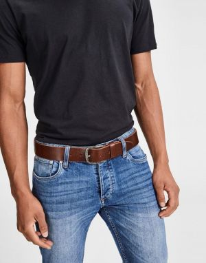 mens strong brown leather belt