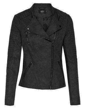 Only Ava Faux Leather Biker Jacket in Black in Black