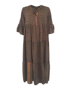 Black Colour Luna Boho Long Smock Dress