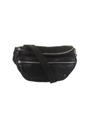 Black Colour Tomboy Leather Bumbag in Black