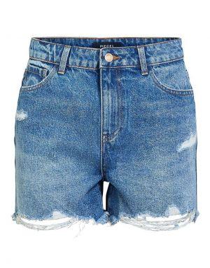 Pieces Ava Destroy Denim Shorts in Dark Blue