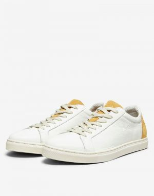 selected homme mens david contrast trainers in white and tan