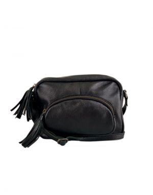 Black Colour Elvira Leather Tassel Shoulder Bag in Black