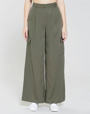 Native Youth Premium Wide Leg Trousers in Olive