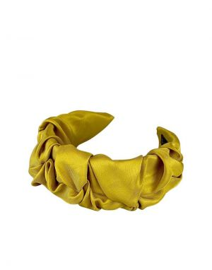 Black Colour Drape Satin Headband in Mustard
