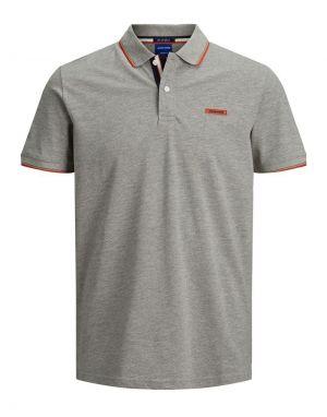 Jack and Jones London Polo Shirt in Light Grey Melange