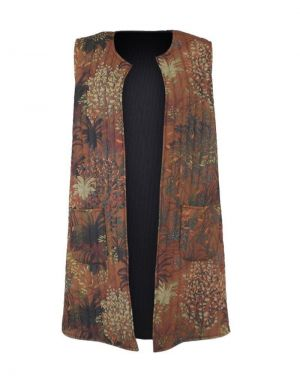 Black Colour Joanna Long Quilted Gilet in Camel